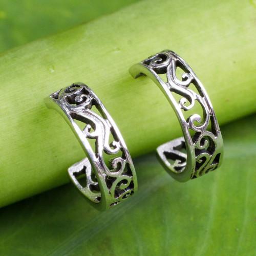 Filigree Style Half Hoop Sterling Silver Earrings 'Thai Filigree'