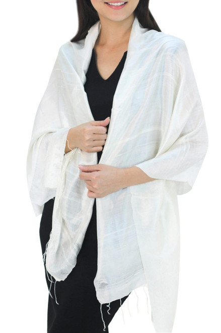 Handwoven 100% Silk Cream Shawl from Thailand 'Shimmering Cream'