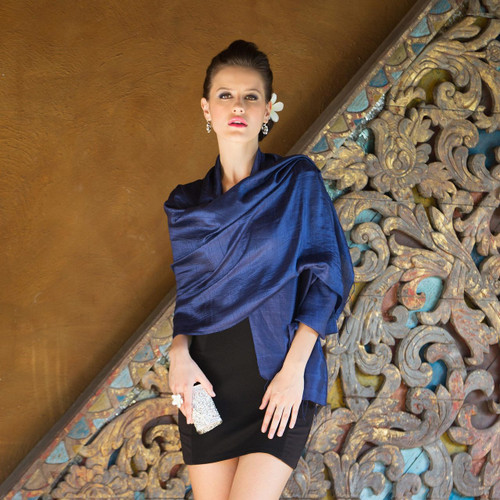 Deep Blue Handwoven Raw Silk Shawl from Thailand 'Shimmering Indigo'