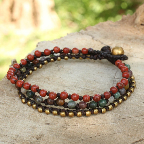 Beaded Macrame Bracelet with Jasper, Agate and Brass 'Natural Mix'
