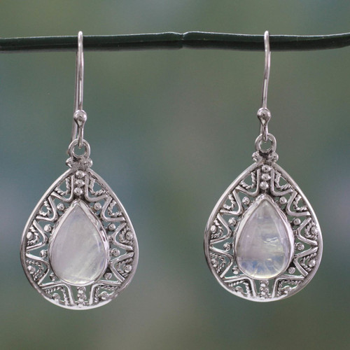 Rainbow Moonstone and Sterling Silver Dangle Earrings 'Timeless Ganges'