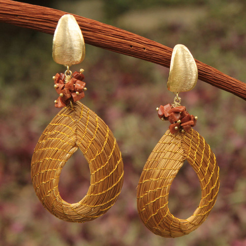 Golden Grass and Sunstone Earrings with Gold Plated Accents 'Solar Chic'
