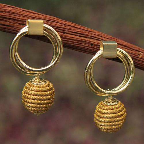 Brazilian Golden Grass Earrings with Gold Plated Accents 'Golden Balloons'