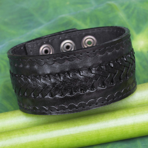 Handcrafted Men's Black Leather Wristband Bracelet 'Rugged Black'