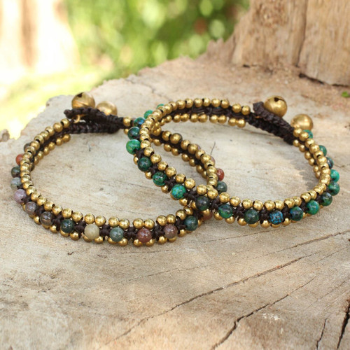 Fair Trade Beaded Bracelets with Serpentine and Agate (Pair) 'Happy Times'