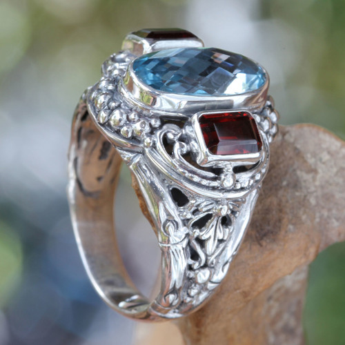 Blue Topaz and Garnet Silver Cocktail Ring from Bali 'Limpid Pool'