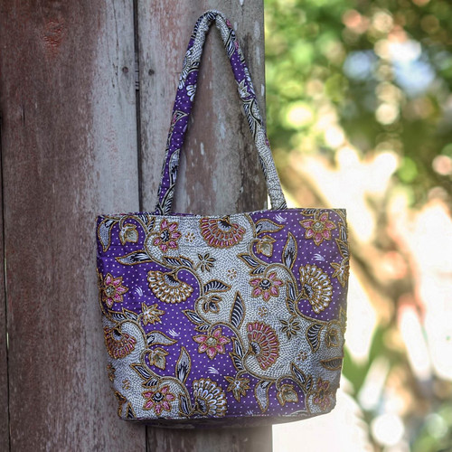 Artisan Crafted Purple Batik Shoulder Bag with Beading 'Purple Kembang Kapas'