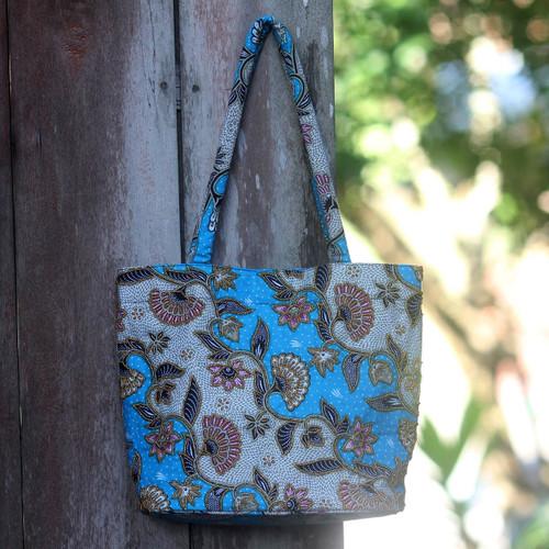 Handcrafted Cotton Batik Shoulder Bag in Blue Floral Pattern 'Blue Kembang Kapas'