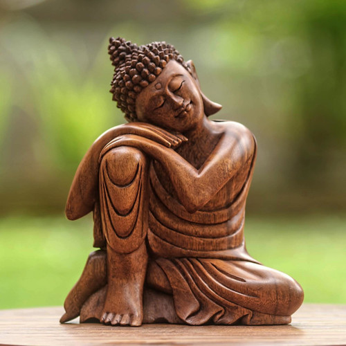 Balinese Hand-Carved Wood Buddha Statuette 'Relaxing Buddha'