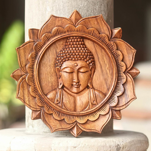 Balinese Hand Crafted Wood Buddha Relief Panel 'Lotus Buddha'