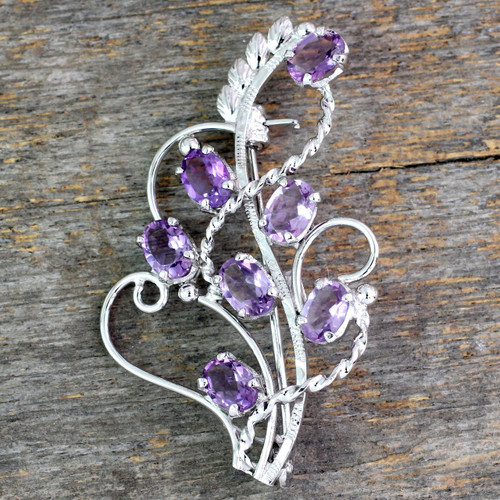 7 Carats Amethyst Sterling Silver Indian Brooch Pin 'Lilac Story'