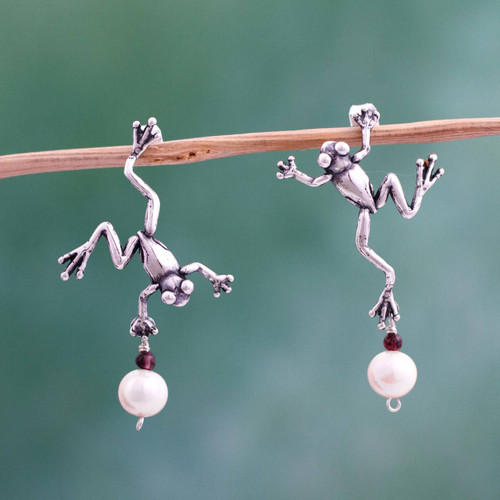 Mexican Artisan Silver Earrings with Pearls and Garnet 'Whimsical Frogs'