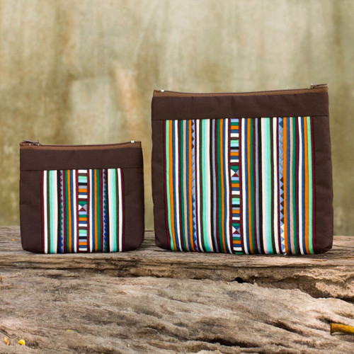 Hill Tribe Style Cotton Blend Cosmetic Bags (pair) 'Exotic Lisu in Brown'