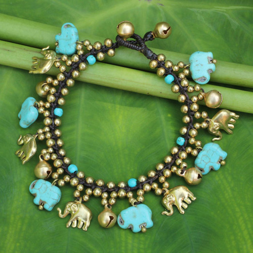 Elephant Charm Bracelet with Brass and Blue Calcite Beads 'Elephant World'