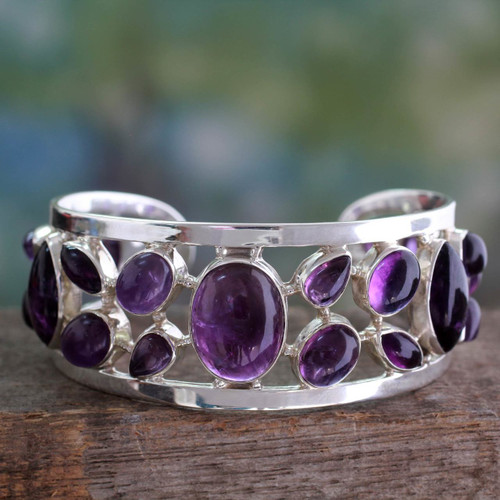 Amethyst Studded Sterling Silver Cuff Bracelet from India 'Purple Harmony'