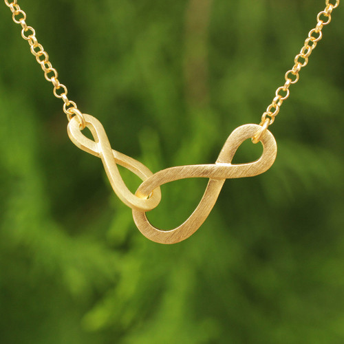 Brushed Gold Vermeil Necklace with Infinity Symbols 'Into Infinity'
