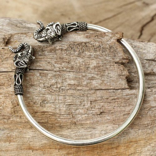 Elephant Themed Silver 925 Cuff Bracelet from Thailand 'Cheerful Elephant'