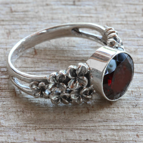 Garnet and Sterling Silver Flower Ring 'Crimson Frangipani'