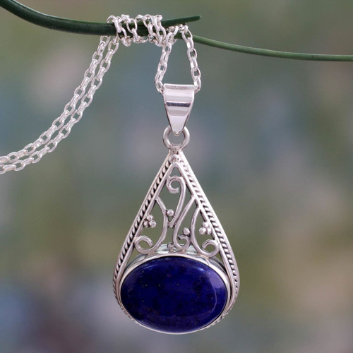 Indian Jali Style Silver Pendant Necklace with Lapis Lazuli 'Royal Grandeur'
