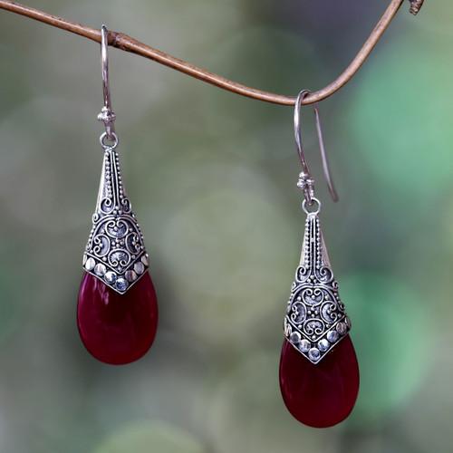Wine-Red Chalcedony and Sterling Silver Dangle Earrings 'Puncak Jaya in Red'
