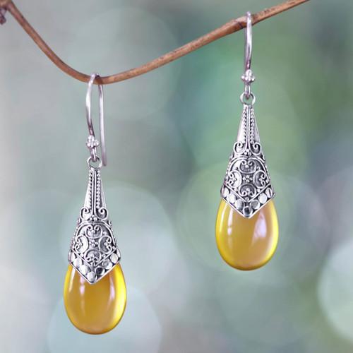 Balinese Sterling Silver and Yellow Chalcedony Earrings 'Puncak Jaya in Yellow'