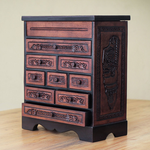Cedar and Brown Tooled Leather Jewelry Box with Drawers 'Memories'