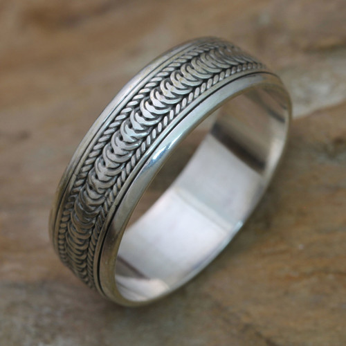 Sterling Silver Meditation Spinner Band Ring 'Infinity Path'