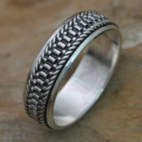 Men's Textured Sterling Silver Meditation Ring 'Odyssey'