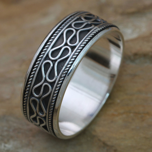 Sterling Silver Balinese Meditation Spinner Ring for Men 'Rolling Waves'