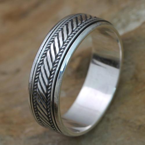 Handcrafted Sterling Silver Meditation Spinner Ring 'Speed'