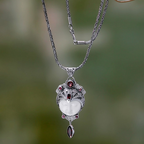 Carved Pendant Necklace with Garnet from Bali 'Layonsari'