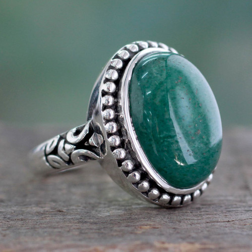 Women's Green Jade and Silver Cocktail Ring from India 'Jade Forest'