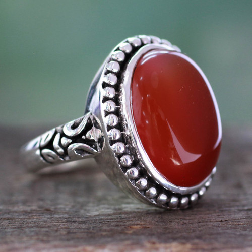 Enhanced Red Onyx and Sterling Silver Cocktail Ring 'Glowing Sunset'