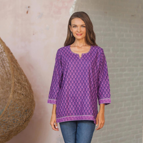 Women's Purple and Lilac Floral Print Tunic from India 'Radiant Orchid Blossom'