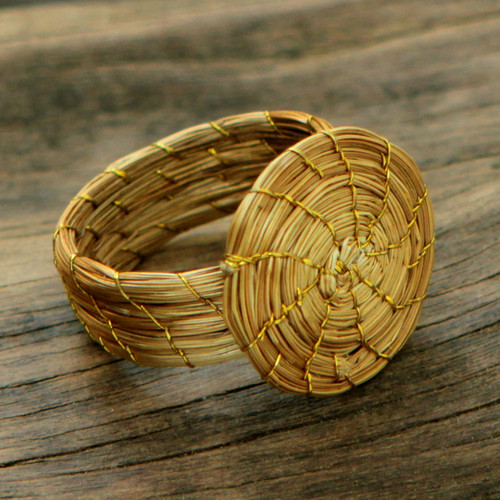 Fair Trade Golden Grass Hand Crafted Cocktail Ring 'Sublime Nature'