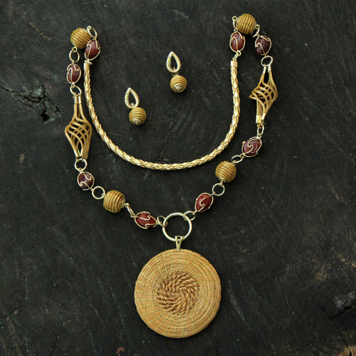 Agate and Golden Grass 2-piece Jewelry Set with Gold Accents 'Jalapão Enchantment'