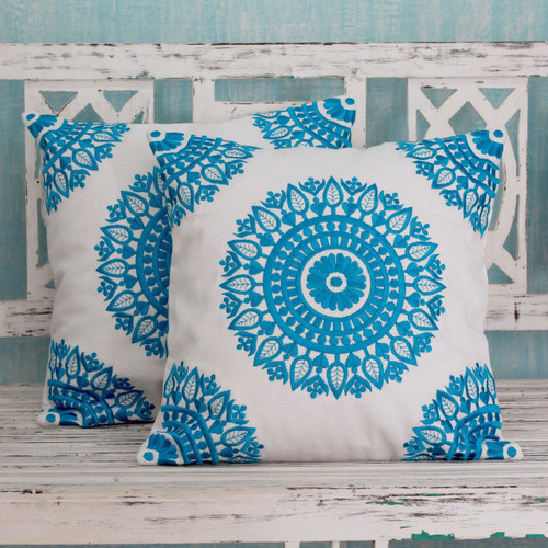Embroidered Blue on White Cushion Covers from India (Pair) 'Cool Turquoise Mandalas'