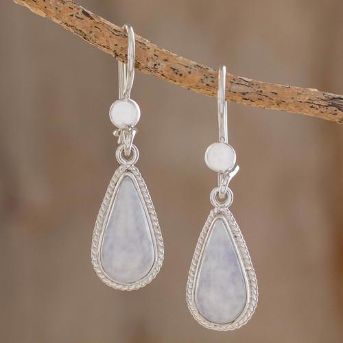 Hand Crafted Sterling Silver Lavender Jade Dangle Earrings 'Lavender Tear'
