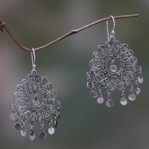 Thai Artisan Crafted Sterling Silver Chandelier Earrings 'Tamiang'