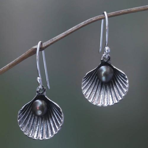 Black Pearl and Sterling Silver Shell Dangle Earrings 'Sea Treasure in Black'