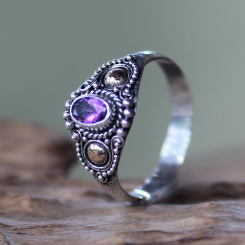Sterling Silver and Gold Cocktail Ring with Amethyst 'Mystic Trio'