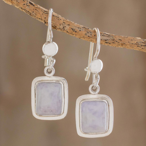 Fair Trade Lilac Jade and Silver Modern Earrings 'Maya Lilac'
