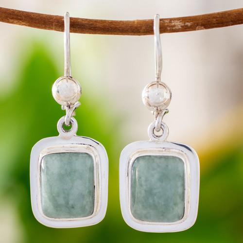Fair Trade Modern Green Jade and Silver Earrings 'Modern Maya'