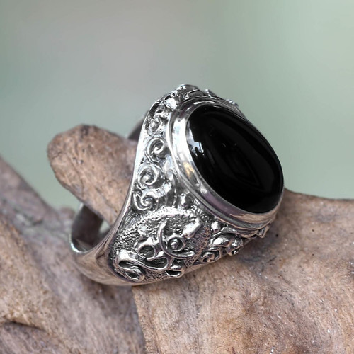 Handcrafted Onyx and Sterling Silver Om Ring for Men 'Black Om Kara'