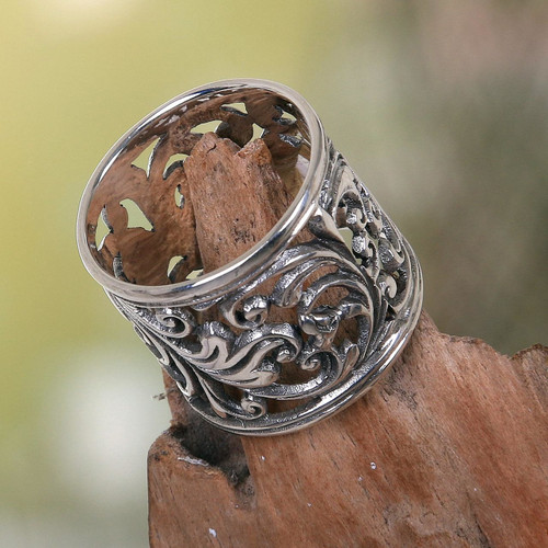 Balinese Women's Sterling Silver Handcrafted Wide Band Ring 'Tropical Rain Forest'