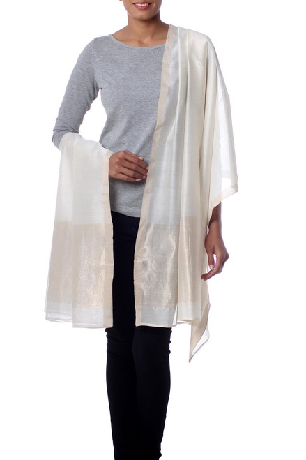 Indian Handwoven Cotton and Silk Shawl in Ivory and Gold 'Ivory Radiance'