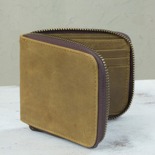 Amber Brown Leather Men's Zipper Wallet Handmade in Mexico 'Safeguard'