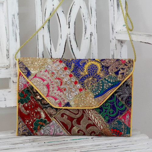 Beaded Patchwork Embroidered Purse of Recycled Fabric 'Vibrant Dream'