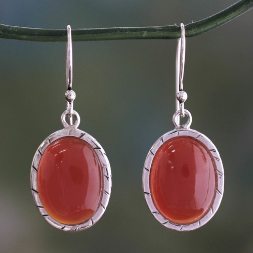 Fair Trade Carnelian and Silver Earrings from India 'Captivating Sunset'
