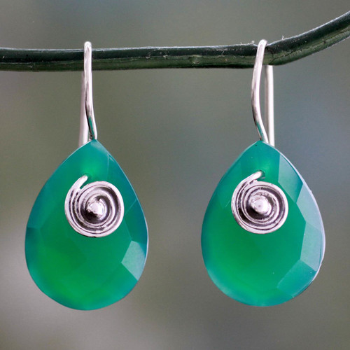 Fair Trade Green Onyx Drop Earrings from India 'Nature's Spell'